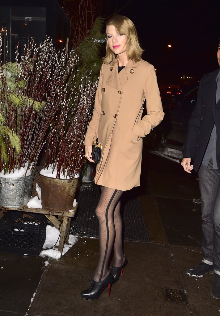 """What a difference (almost) six years makes — Taylor Swift and Kanye West were seen leaving The Spotted Pig restaurant in NYC on Tuesday. The pair's outing comes just a couple of weeks after they linked up at the Grammys, chatting and posing for pictures together nearly six years after the rapper memorably interrupted her acceptance speech at the 2009 MTV VMAs. The duo definitely seems to be in a good place, though, and considering Kanye's recent comments about Taylor, this week's dinner date may have been a meeting about a possible collaboration. Last week, Kanye said Taylor wanted to get in the studio, adding, """"We're definitely going to go in."""" He explained, """"Everyone loves music, whether they love hip-hop, alternative, country, and if I could be involved in giving people any type of energy, advice in the studio, whether you're Beyoncé, whether you're Taylor Swift, whether you're Jay Z, whether you're Beck, whoever, and they can be reciprocal with that, I'd like to be involved with that."""" Kanye isn't the only one Taylor's been hoping to hang out with, though — she pretty much demanded that Jay Z do brunch with her. Check out pictures of Taylor and Kanye's night, and then see her hilarious Jumbotron dancing with Jimmy Fallon!"""