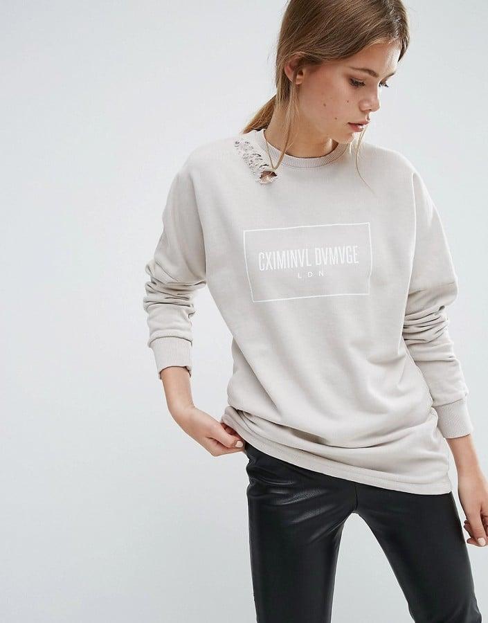Asos Criminal Damage Ripped Shoulder Sweatshirt ($62)