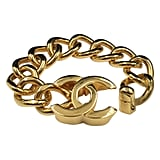 Chanel Gold Tone CC Logo Chunky Chain Bracelet