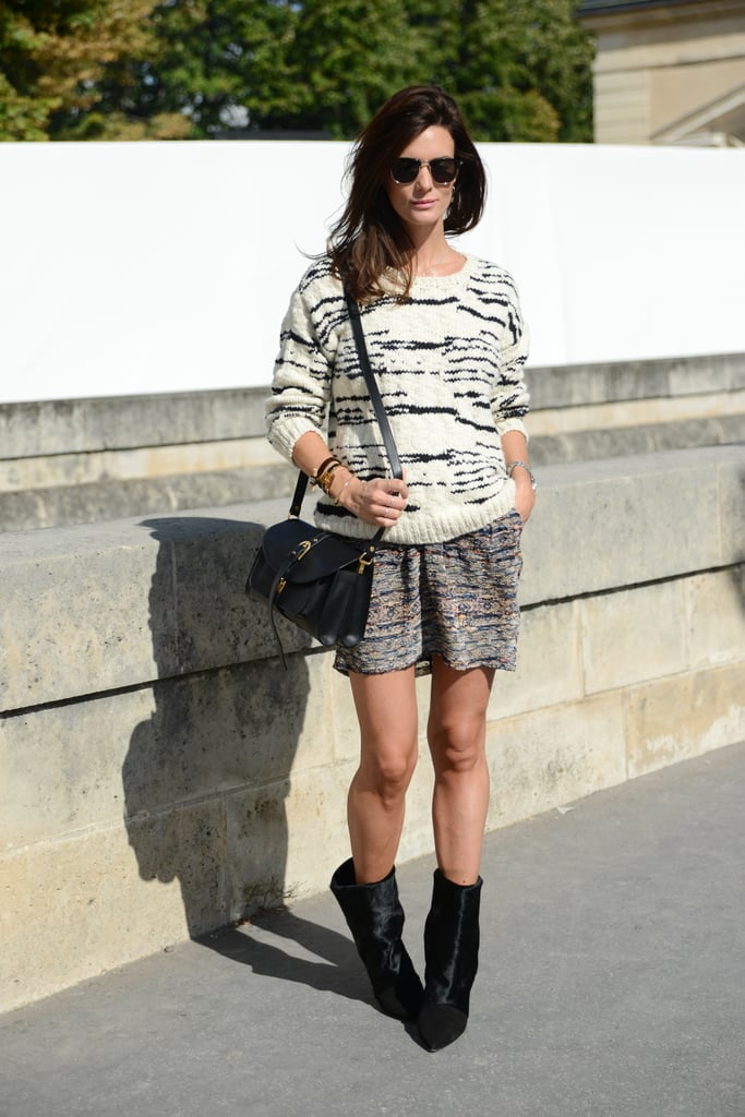 This IRO zebra-inspired knit had a definitively cool effect against her Isabel Marant skirt.