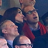 Kate and William leaned in while watching the Australia vs. Wales match during the Rugby World Cup in London in October.