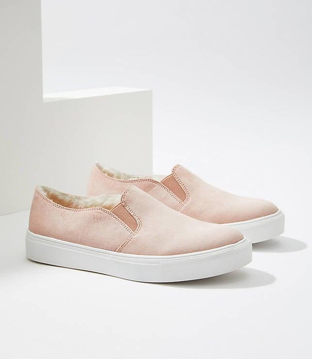 Faux Fur Lined Slip On Sneakers
