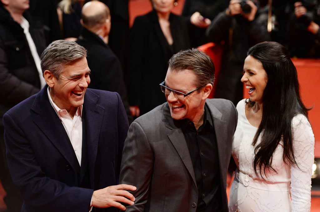 George Clooney had a good laugh with Matt Damon and his wife, Luciana, at the Monuments Men event in Berlin on Saturday.
