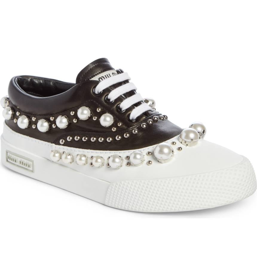 376dbe0e10 Miu Miu Embellished Lace-Up Sneaker