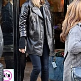 Kate Moss teamed a Mulberry peacoat with Isabel Marant booties in London.