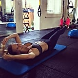 Sometimes the best part of the workout is when it's all done. Bar Refaeli smiled after she finished her workout!