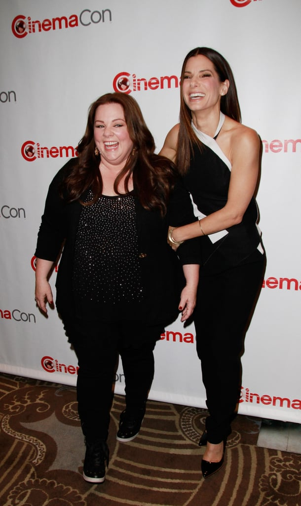 "Sandra Bullock and Melissa McCarthy teamed up to hype The Heat today at CinemaCon in Las Vegas. The pair play law enforcement agents who don't exactly see eye to eye in the upcoming buddy comedy, which was directed by Bridesmaids' Paul Feig and hits theaters in late June.  We spoke to Sandra, Melissa, and Paul this morning about the broadening opportunities for female-driven comedies — which Paul has referred to as ""bramances"" — that he helped champion with Bridesmaids. Sandra also described her bond with Melissa as a true ""love connection,"" and Paul said his stars instantly hit it off when they first got together to rehearse, chatting about their kids and becoming fast friends. Stay tuned to catch our full interviews with the trio!"