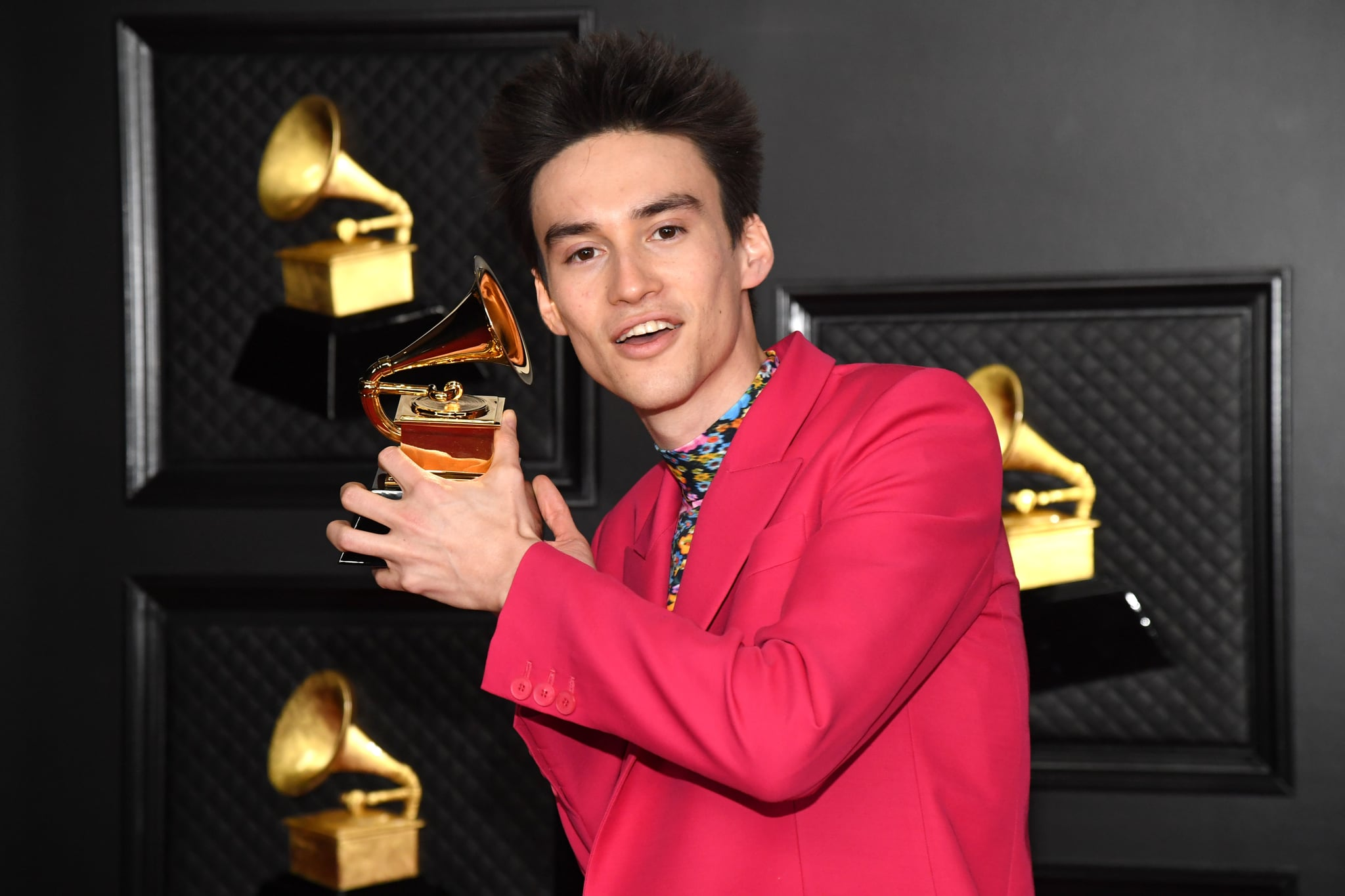 LOS ANGELES, CALIFORNIA - MARCH 14: Jacob Collier, winner of the Best Arrangement, Instruments and Vocals award for 'He Won't Hold You,' poses in the media room during the 63rd Annual GRAMMY Awards at Los Angeles Convention Center on March 14, 2021 in Los Angeles, California. (Photo by Kevin Mazur/Getty Images for The Recording Academy )
