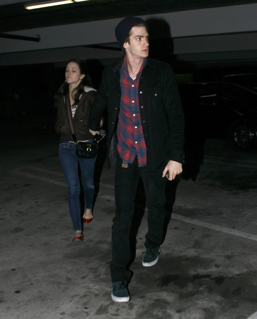 Andrew Garfield held his girlfriend Shannon Woodward's hand on their way out of an LA movie theater yesterday. The couple shared a quiet date night after stepping out together for award season festivities last week. Andrew's The Social Network was honored at the Critics' Choice Awards and again at the Golden Globes, but we'll have to wait until tomorrow to see how many Oscar nominations it picks up — we'll be streaming the announcements LIVE, so be sure to check back in the morning! Andrew's also been keeping busy filming Spider-Man with Emma Stone, and we just got our first look at him wearing the iconic suit. Shannon, meanwhile, will continue to work on her hit TV show, Raising Hope, since Fox has renewed the comedy for a second season.