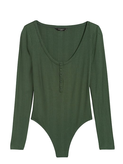 Ribbed Henley Thong Bodysuit