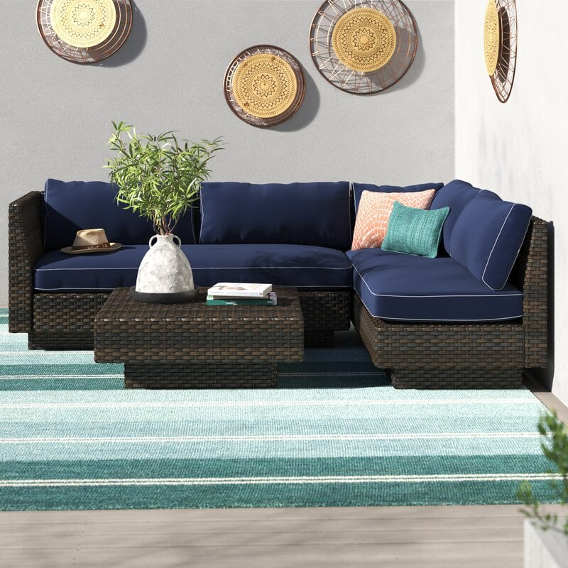 Mulford Outdoor 3-Piece Rattan Sectional Seating Group With Cushions