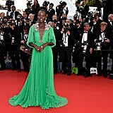 Lupita took to Instagram to kick off her Cannes evening in #GrasshopperGreen, thanking Gucci for the custom design and Chopard for the lovely jewels.