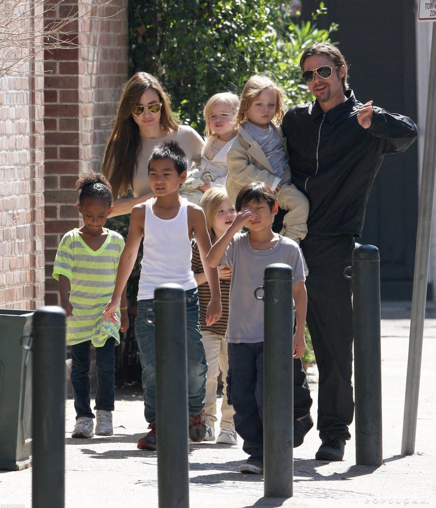 He and Angelina Jolie Sleep With Their Kids