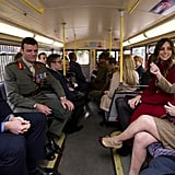 Kate Middleton and Prince William rode a bus with VIPs for Poppy Day.