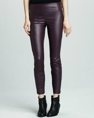 These Blank Faux-Leather Leggings ($52) in a seasonal burgundy color will feel instantly festive when you add a sequined black top and a black blazer.