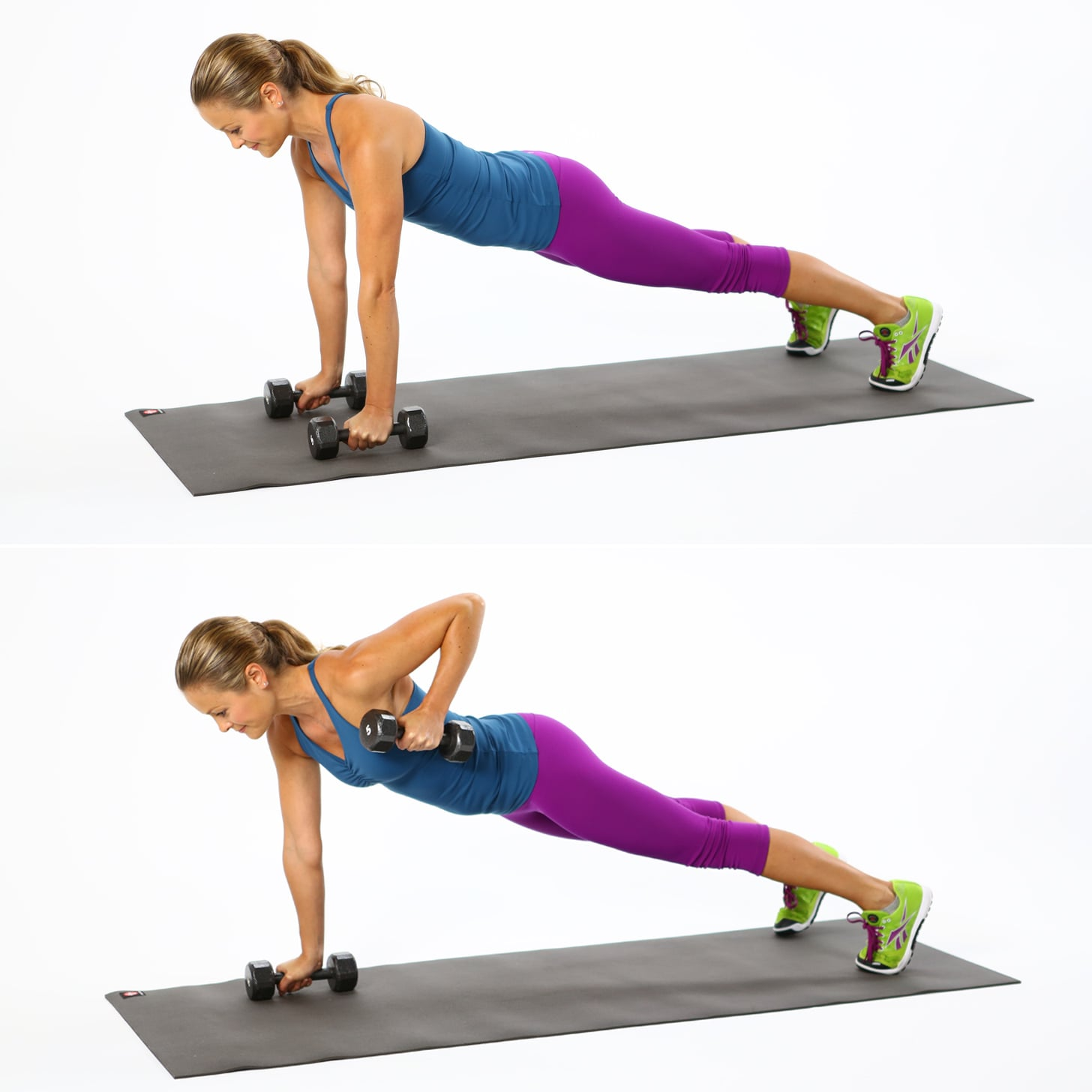 how to do plank with row back exercise popsugar fitness