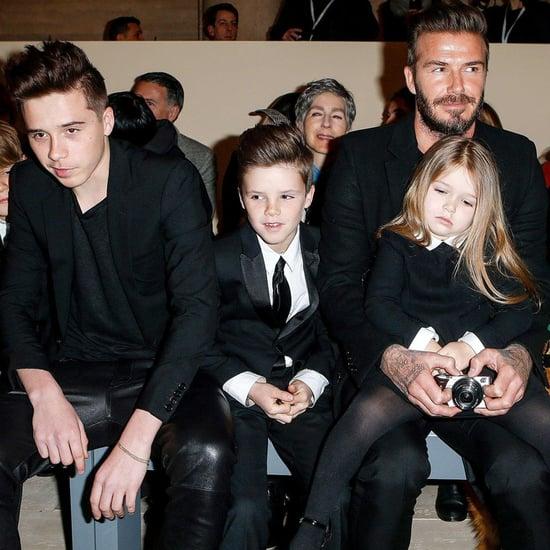 David Beckham and Kids at New York Fashion Week 2015