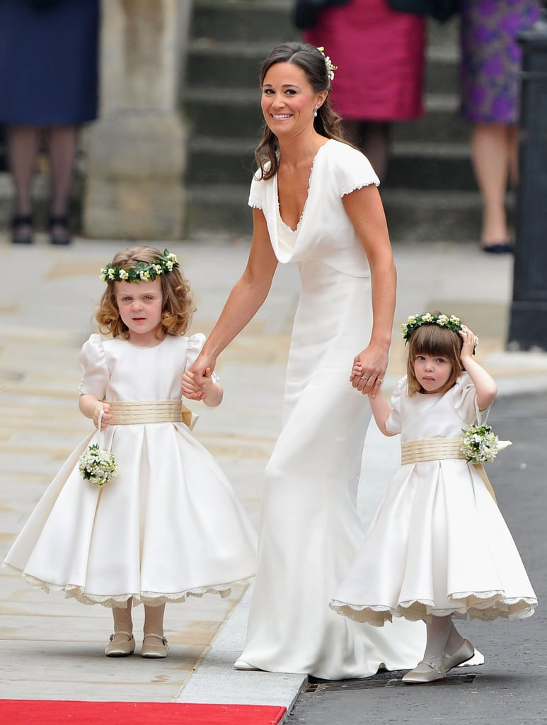 Pippa Middleton helped younger bridesmaids down the aisle at her sister Kate Middleton's London wedding to Prince William in April 2011.