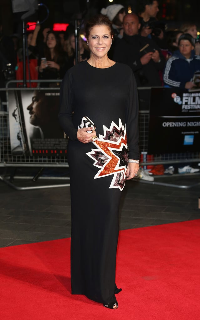 Rita Wilson arrived with a bang on the red carpet, wearing a starburst-accented gown at the London premiere of Captain Phillips.