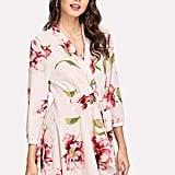 Shein Random Florals Asymmetric-Hem Wrap Dress