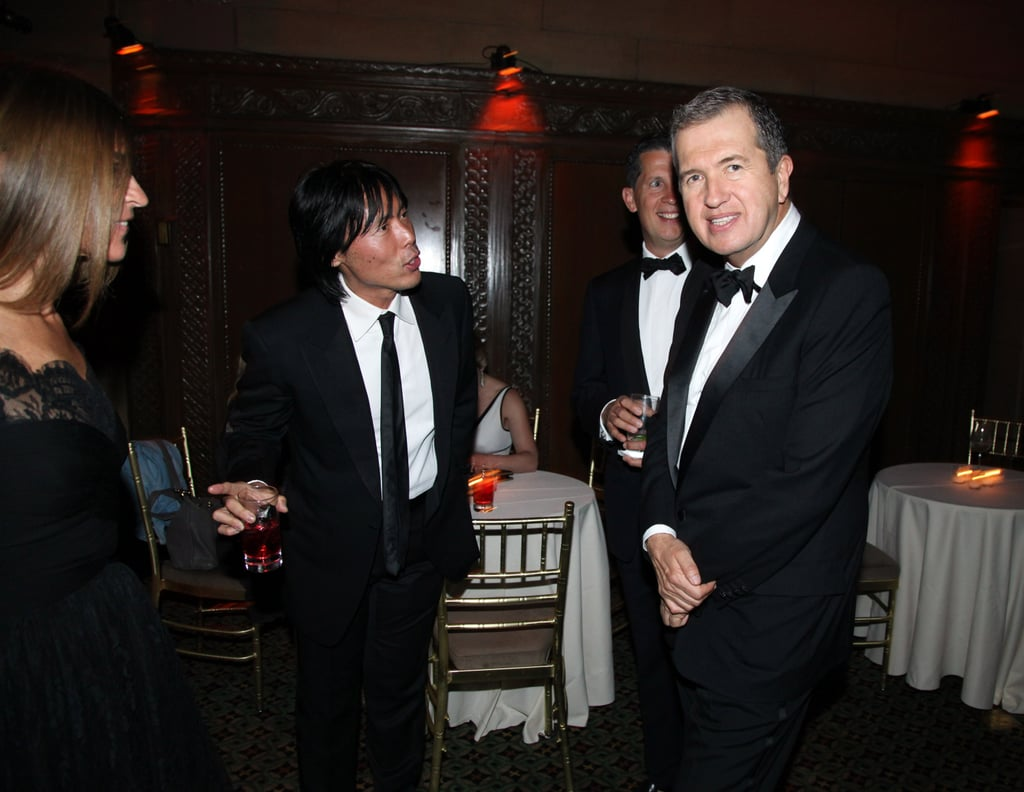 """>> Last night, 600 people — including Grace Coddington, Anna Wintour, Carine Roitfeld, and Donatella Versace — gathered in New York to celebrate Mario Testino's illustrious career as part of the El Museo del Barrio gala. Kate Winslet, who presented Testino with an award, said of working with the photographer: """"He'll say, 'It's beeuuutiful, but I think it would be better naked, no?' Quite frankly, how could one refuse? No matter what insecurities about oneself a subject  may have, Mario makes them go away like a magician. One moment you are  in the hair and makeup chair fully clothed and wishing you had smoother  skin, longer legs and smaller feet and then Mario comes in and in that  charming way he takes you by the hand and says, 'Don't worry it's going  to be amazing.'"""" Carine Roitfeld, meanwhile, said of collaborating with Testino: """"What I love about him I can tell him anything and that is very rare  with a photographer. If I don't like these shoes, or I don't like this  picture I can tell him. It is his complicity . . . to be able to say what you  want to someone. I just finished a book about my work so far and 80 percent of it is with Mario."""" Testino, meanwhile, credited his career to Anna Wintour: """"Long ago she decided I was a good photographer."""" As for his favorite photographic subject, he replied: """"It would have to be Princess Diana, it took my career to another level. Top five? Kate Moss has been one of my favourites for a long time. I  have worked a lot with her. I think I have managed to document her  through the 20 years that we have worked together. But there are many  people like that: Gwyneth Paltrow, Kate Winslet, it is hard to pick just  one."""""""