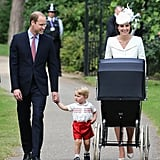 But the boys of the family didn't disappoint. Prince William looked dapper in a suit, while Prince George was absolutely adorable in some red shorts and a collared shirt.