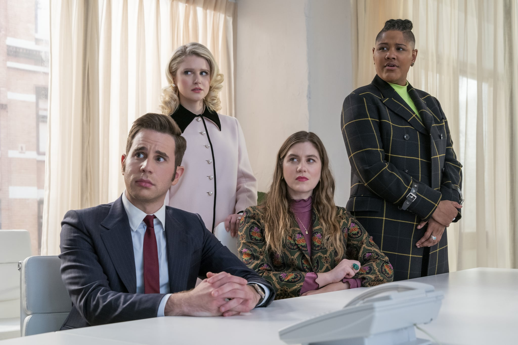 THE POLITICIAN (L to R) BEN PLATT as PAYTON HOBART, JULIA SCHLAEPFER as ALICE CHARLES, LAURA DREYFUSS as MCAFEE WESTBROOK and RAHNE JONES as SKYE LEIGHTON in episode 206 of THE POLITICIAN Cr. NICOLE RIVELLI/NETFLIX  2020