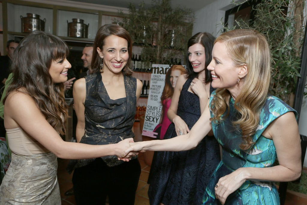 Leslie Mann, Anne Fulenwider, Jessica Pare and Lea Michele chatted at the Marie Claire Hollywood Dinner in LA.