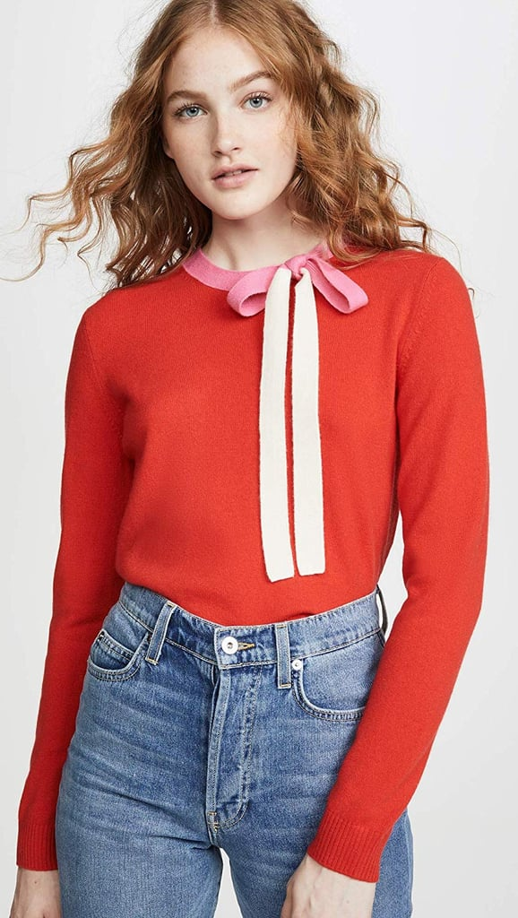 Chinti and Parker Cashmere Tie-Neck Sweater