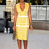 Solange Knowles looked sunny and Summer-ready in yellow Marni paillettes and Missoni perspex platforms.