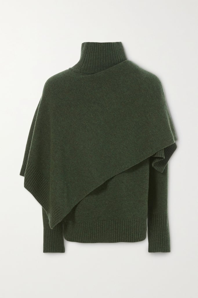 LVIR Green Draped Wool Turtleneck Sweater