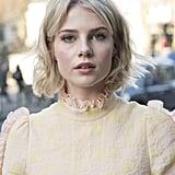 Lucy Boynton's Curtain Bangs, 2017