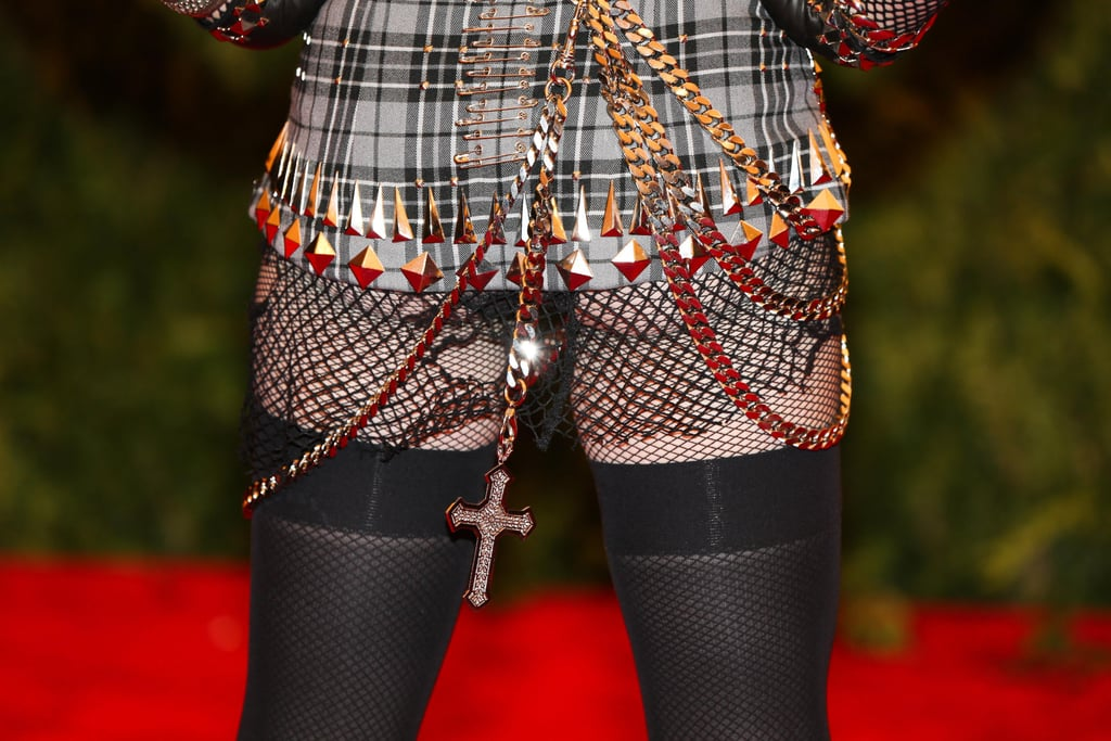 Madonna wore mesh, chains, and studs in her Met Gala look. Photo: Julian Mackler BFAnyc.com