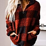 ZESICA Plaid Sherpa Fleece Sweatshirt