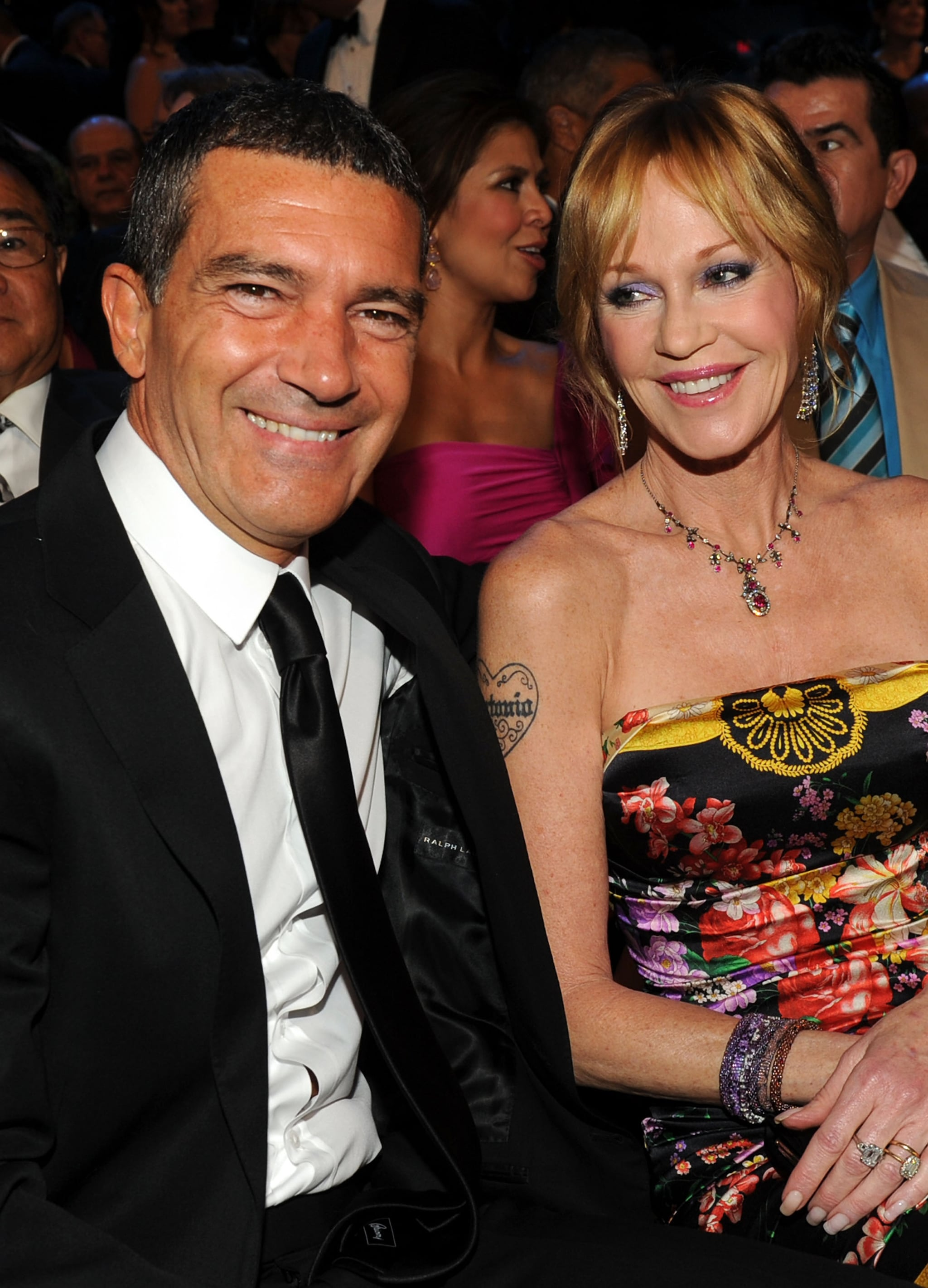 SANTA MONICA, CA - SEPTEMBER 10:  Actors Antonio Banderas (L) and Melanie Griffith pose in the audience during the 2011 NCLR ALMA Awards held at Santa Monica Civic Auditorium on September 10, 2011 in Santa Monica, California.  (Photo by Kevin Winter/Getty Images for NCLR)