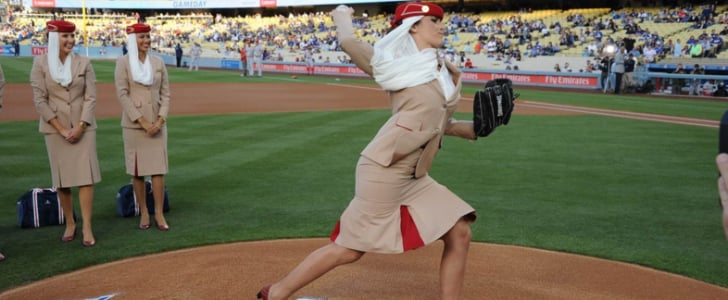 Emirates Crew Play Baseball at Los Angeles Dodgers Stadium