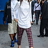 On the streets of NYC, Zendaya looked sophisticated in a long poloneck top and printed cropped trousers.