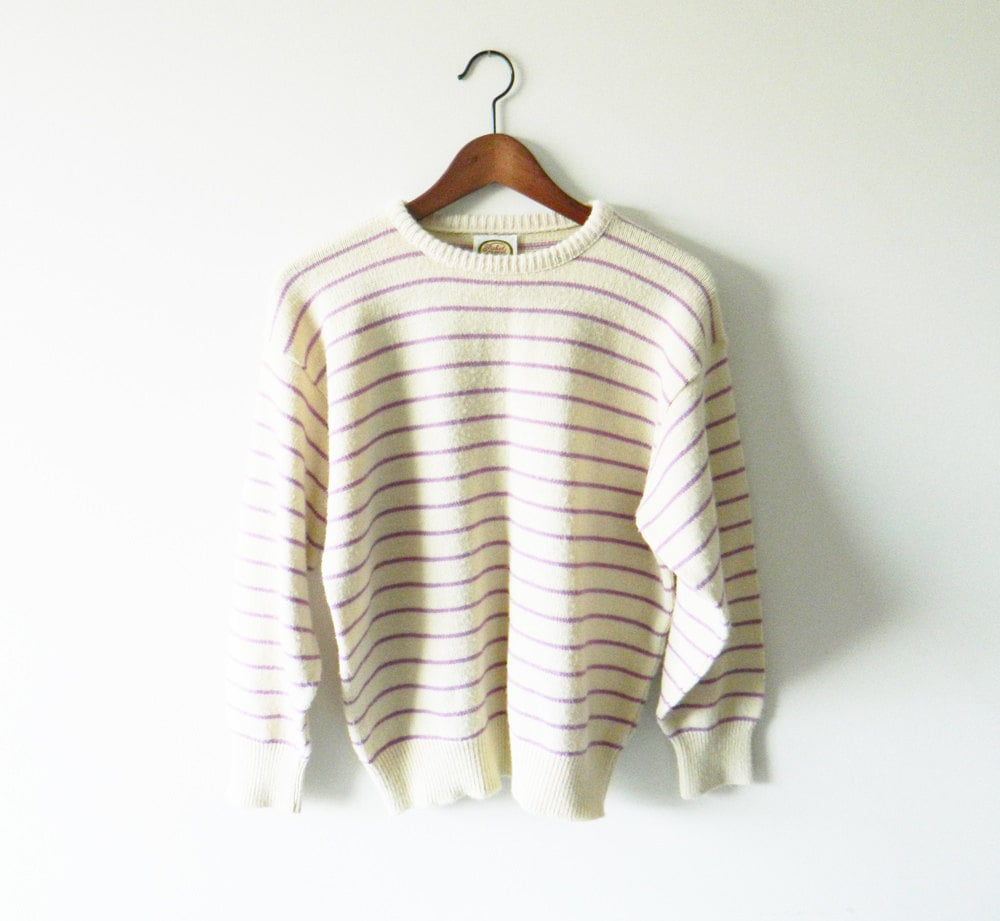 This pastel striped sweater will fit in nicely with your current wardrobe.  AmeliaBedelia Vintage '80s Pastel Striped Sweater ($38)