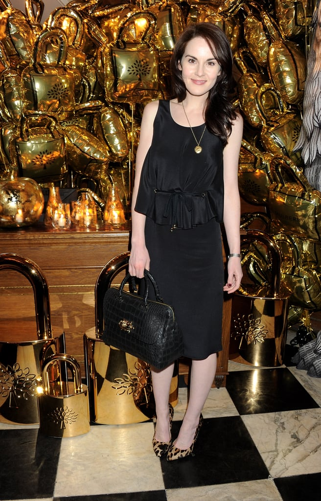 The Downton Abbey starlet donned all black at a Mulberry dinner in February — we love that she added a contrasting leopard-printed heel for a pop of texture.