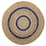 Round Blue Stripe Jute Area Rug
