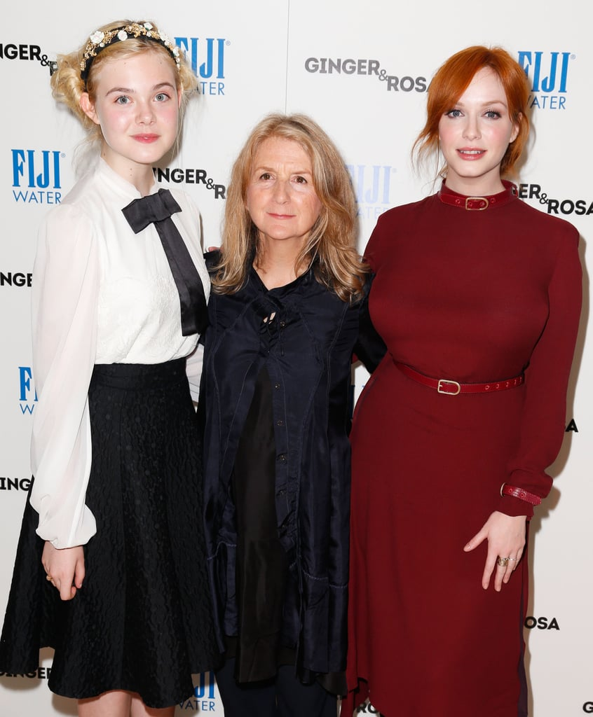 Christina Hendricks and Elle Fanning posed with the film's director, Sally Potter.