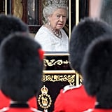Queen Elizabeth II arrives to the state opening of Parliament in 2016