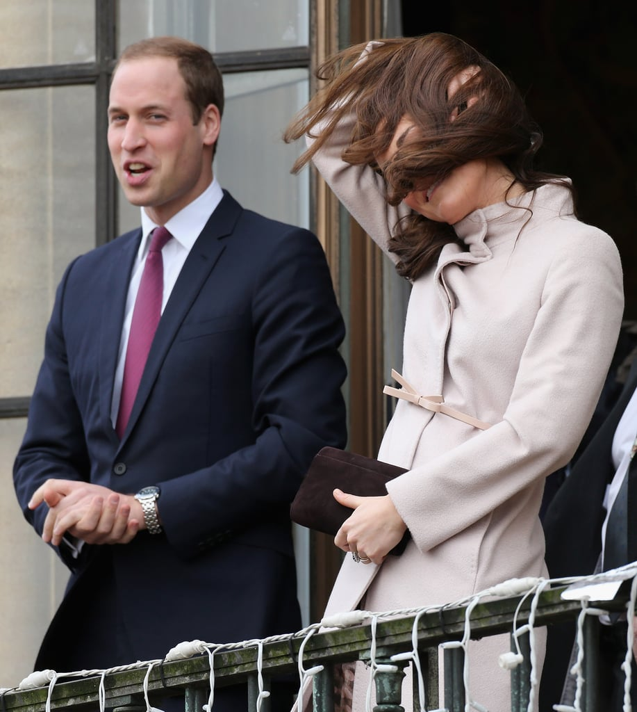 Kate Middleton fixed her hair with Prince William.