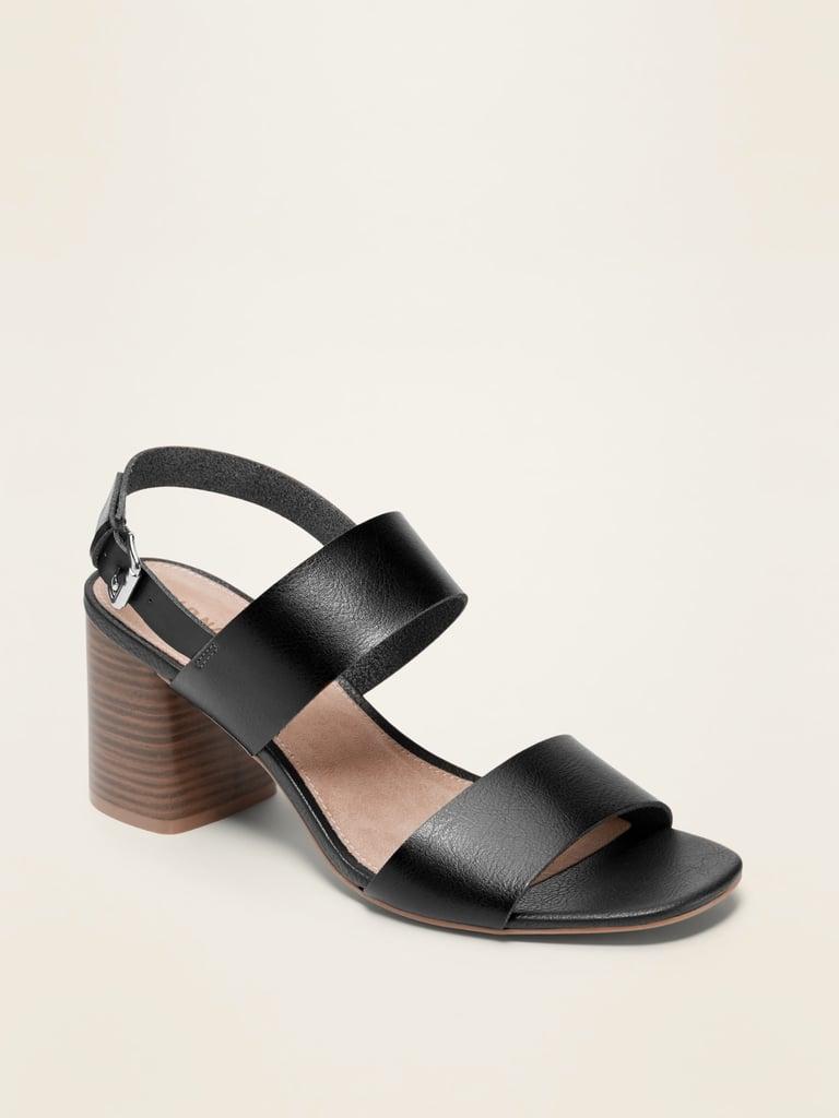 Faux-Leather Slingback Block-Heel Sandals