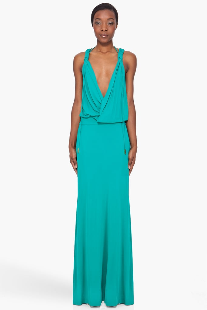 This chic draped maxi is perfect for a garden party.  Dsquared2 Green Belted Goddess Dress ($622, originally $1,245)