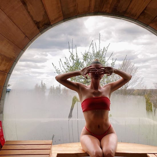 Hailey Bieber's Red Bikini in Her Sauna on Instagram