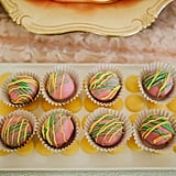 Cake truffles were made in the invitation colors.