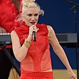 Gwen Stefani wore a bright red outfit to perform on Good Morning America.
