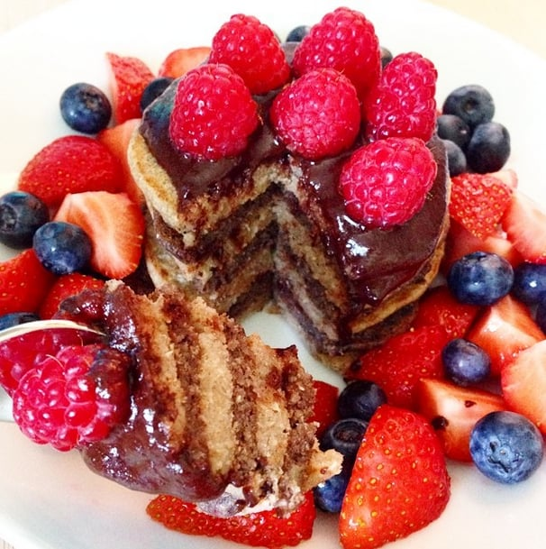 For an extra punch of antioxidants and amino acids, add delicious acai into your batter.  Source: Instagram user thehealthyideas