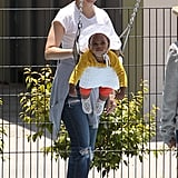 Kristin Davis played on the swings with daughter, Gemma Davis.